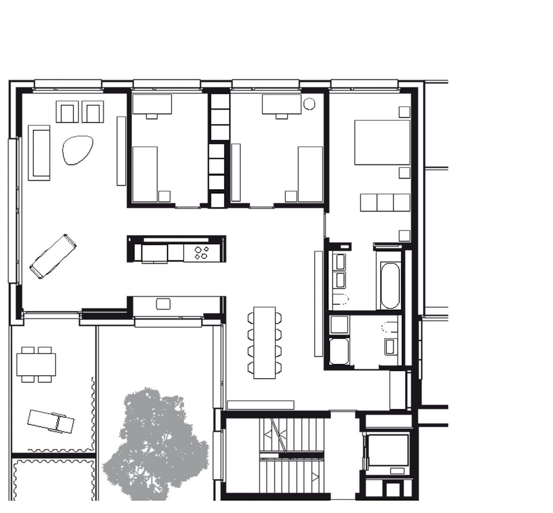 Nordwestliche Wohnung 1.–3. Obergeschoss