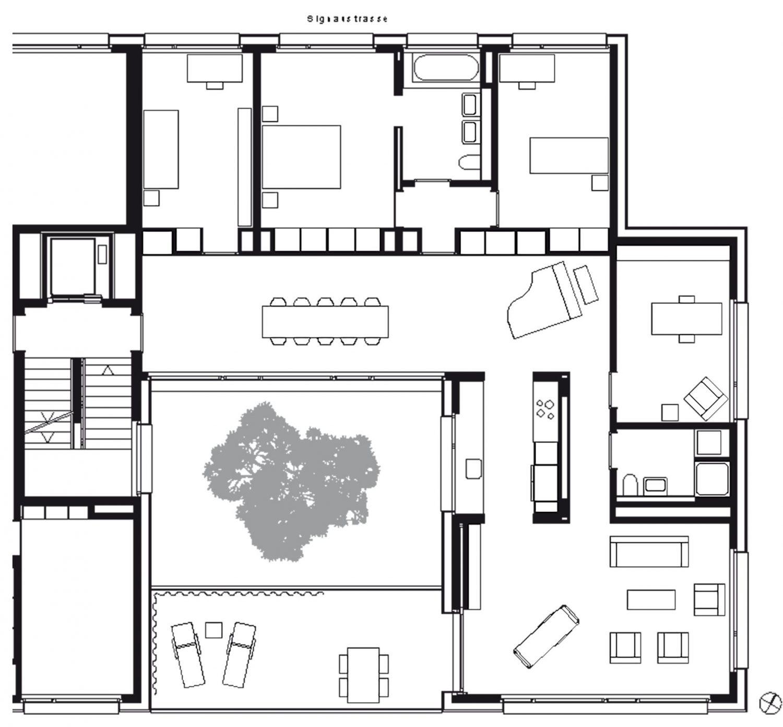 Nordöstliche Wohnung 1.–3. Obergeschoss