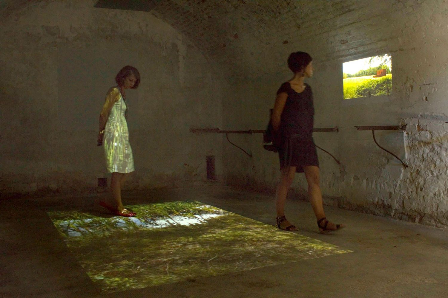 7 // In Room 7 (Walking on an Ancient Battlefield, Reading History on the Ground) different projections showed aspects of the archeological museum and park in Kalkriese in Germany. One film projected on the floor, showed the feet of the filmer walking on the natural and re-designed ground.